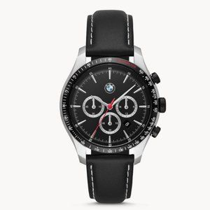 NWT BMW Black Steel Chrono Black Leather Strap